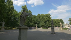 A rich collection of Rococo sculptures in the Saxon Garden, Warsaw Stock Footage
