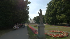 Rococo statues and flower arrangements in the Saxon Garden in Warsaw Stock Footage