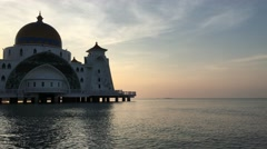 4k footage of sunrise at Malacca Straits Floating Mosque Stock Footage