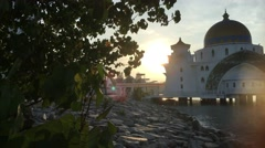 View of sunrise at Malacca Straits Floating Mosque Stock Footage