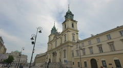 Beautiful view of Holy Cross Church in Warsaw Stock Footage