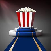 Stock Illustration of Popcorn on the podium. Movie premiere