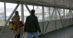Tourists Walking Before Boarding the Ferry Stock Footage