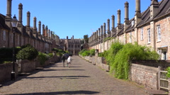 Beautiful old English row houses line the streets of Wells, England. Stock Footage