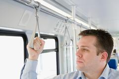 Stock Photo of Commuter on light rail