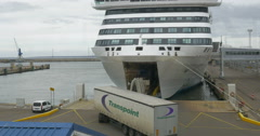 Trucks Boarding the Ferry in Harbor of Tallinn Stock Footage