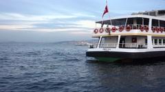 Passenger Boat in Bosphorus, at Eminonu port in Istanbul, Turkey  Stock Footage