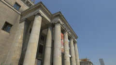 Hanging banners at Museum of Technology entrance in Warsaw Stock Footage