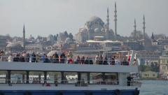 Passenger Boat in the Goldern Horn in Istanbul, Turkey (Editorial) Arkistovideo