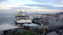 A ferryboat departing from Sirkeci port in Istanbul Turkey (Editorial) Stock Footage