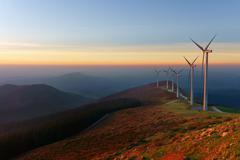 wind turbines in Oiz eolic park - stock photo