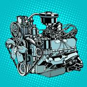 Retro engine motor - stock illustration