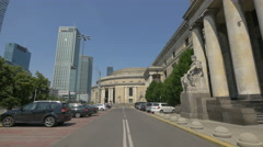 Cars parked next to the Palace of Culture and Science, Warsaw Stock Footage