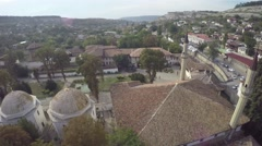 Aerial view of small village in Crimea, countryside, mountain, hamlet, house - stock footage