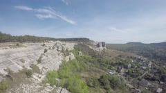 Aerial view of small village in Crimea, countryside, mountain, hamlet, house Stock Footage