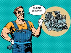Fun mechanic check engine repair car Stock Illustration