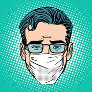 Retro Emoji sore virus infection medical mask face man - stock illustration