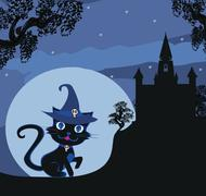 black witch cat - stock illustration