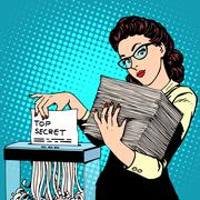 Paper shredder top secret document destroys the Secretary - stock illustration
