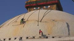 The Boudhanath Stupa in the Kathmandu, Nepal - stock footage