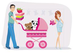 Stock Illustration of beautiful pregnant woman and her husband on shopping
