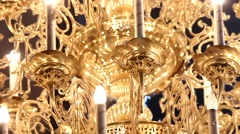 Beautiful big golden ceiling lamp Stock Footage
