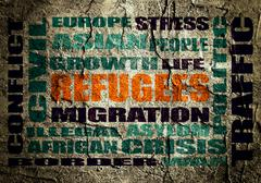 refugees integrated in relative tags cloud - stock illustration