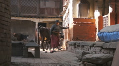 local people working at home in the Bhaktapur, Nepal - stock footage