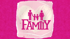 Family design over pink background Stock Footage