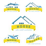 Set house logo design template. Realty theme icon. - stock illustration