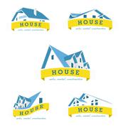Stock Illustration of House logo design template. Realty theme icon. Building vector silhouette.