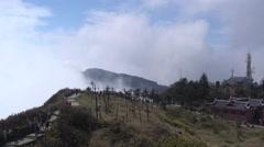 Tourists watch fog in emei mountain,fall,Sichuan Stock Footage