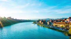 Timelapse of the River Drava flowing through Maribor Stock Footage