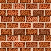 Brown brick wall seamless pattern vector background - stock illustration