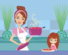 mother serving tomato soup - stock illustration