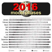 Moon calendar 2016 - stock illustration
