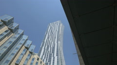 Look up shot of Zlota 44 residential skyscraper in Warsaw Stock Footage