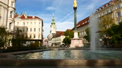 Sparkling fountain in the City of Graz Stock Footage
