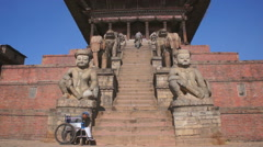 Street scene on the square in the Bhaktapur, Nepal Stock Footage