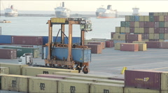 View Of The Port Of Unloading Cargo Container Truck Stock Footage