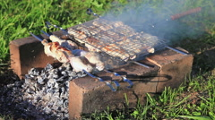 Chicken meat pieces being fried on a charcoal grill at the outdoors Stock Footage
