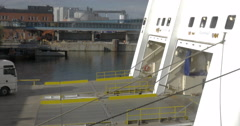 Trailer Gets On The Ferry Stock Footage