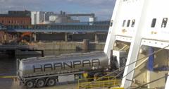 Tank Truck Boarding the Ferry Boat Stock Footage