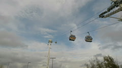 View up to London Air Line cable car over Thames - stock footage