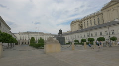 Taking pictures in front of the Josef Poniatowski monument in Warsaw Stock Footage
