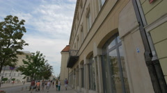Beautiful old buildings on Krakowskie Przedmiescie street in Warsaw Stock Footage