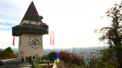The famous Uhrturm overlooking the city of Graz Stock Footage