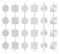 Collection of 6 simple greyscale gerland patterns seamless by axis Y Stock Illustration