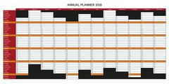Colorful English annual planner 2016 Stock Illustration