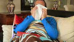 Man coughing and resting in a home 2 Stock Footage